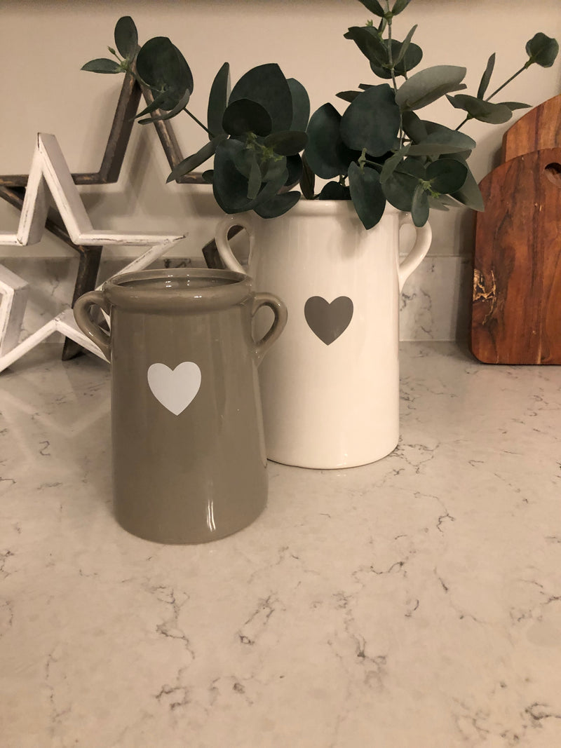 Medium white handled ceramic vase with heart
