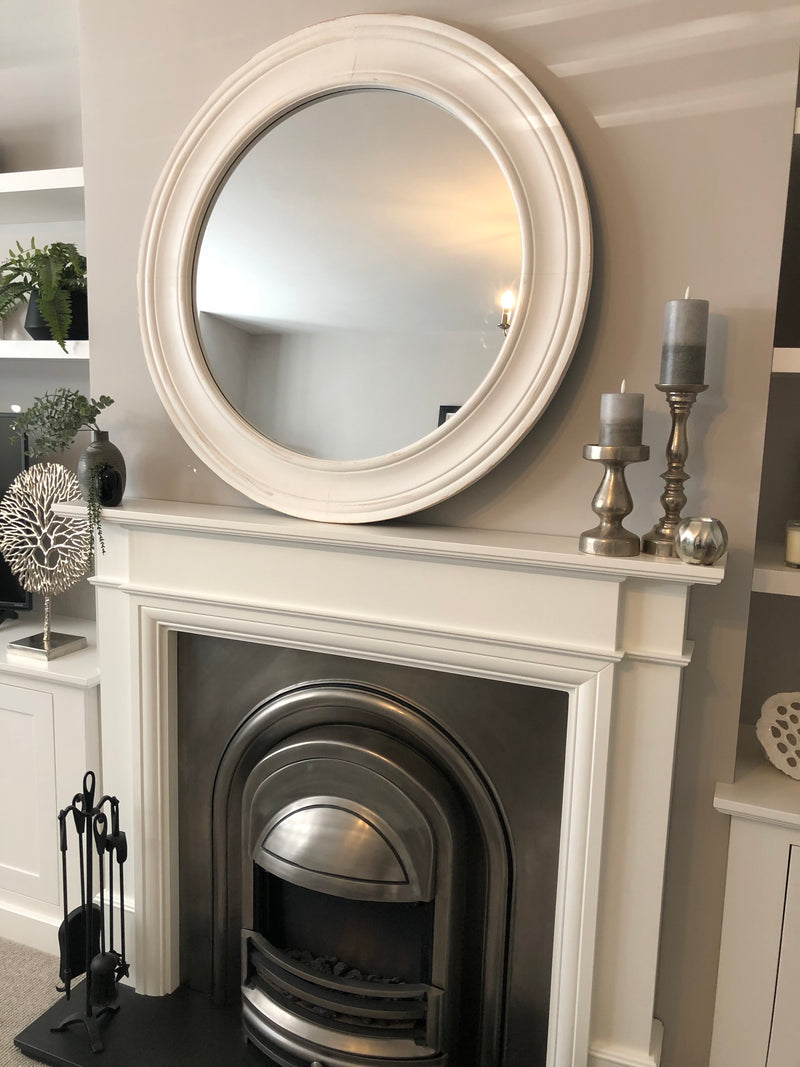 Chunky round off white mirror 76cm