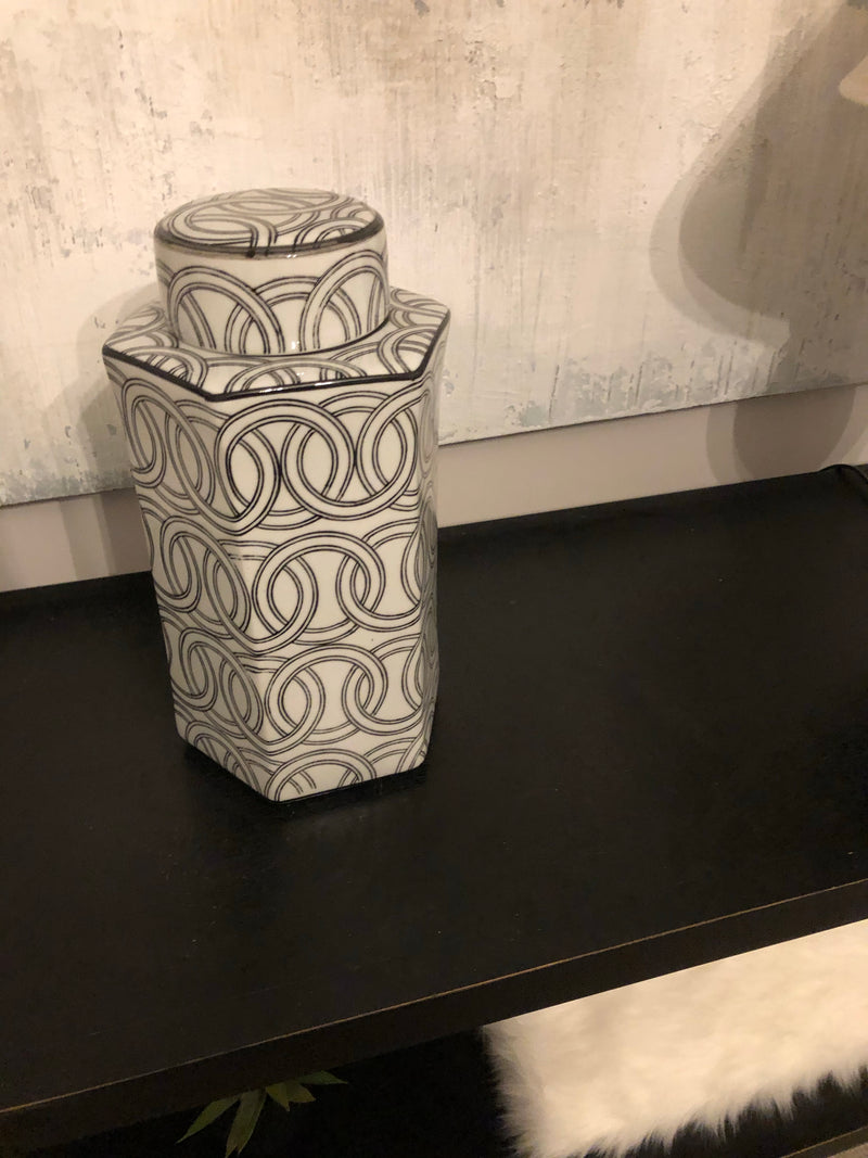 Hexagonal black and white lidded jar