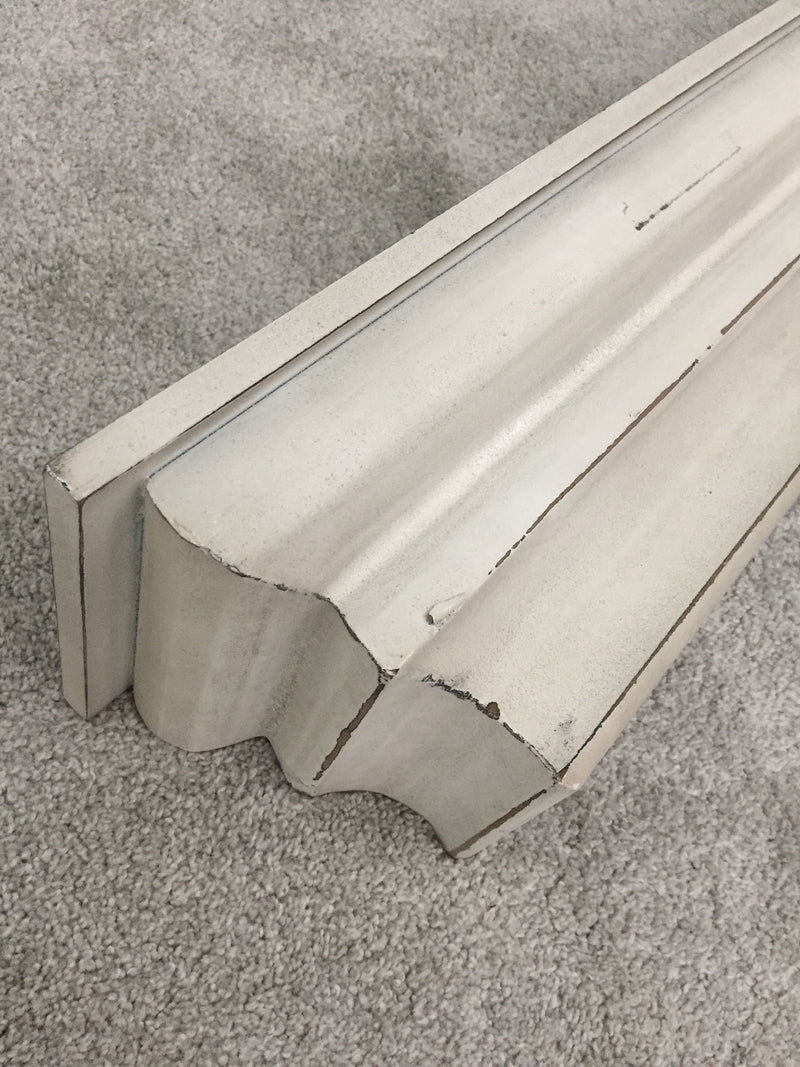 Off white/cream distressed wall shelf