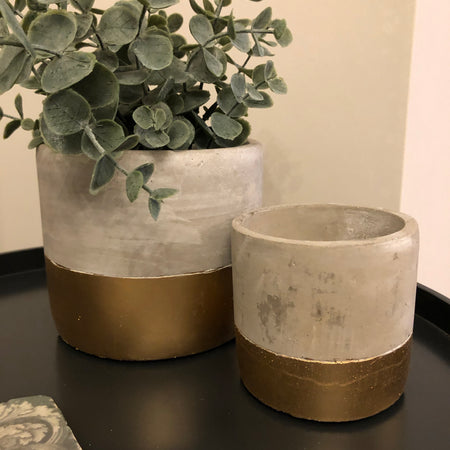 Large Gold Dipped Cement Pot