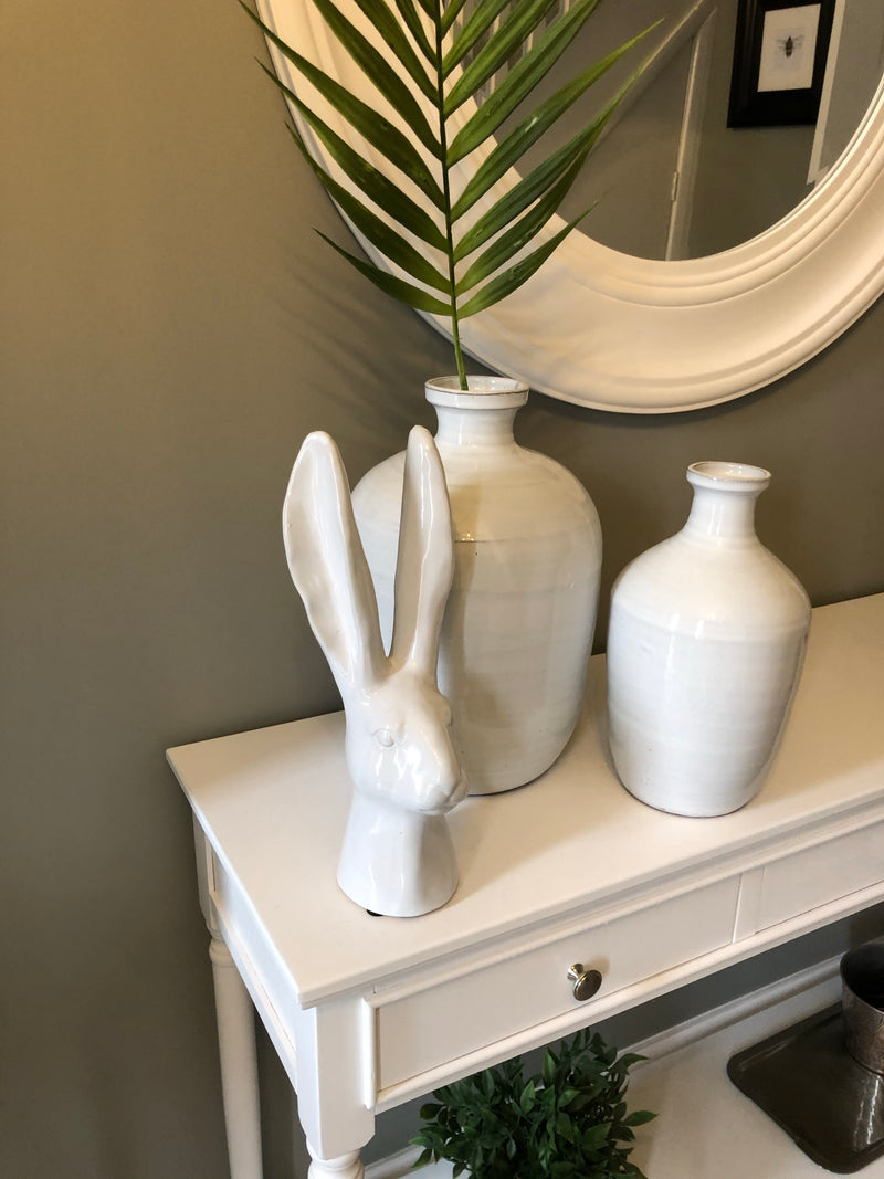 White Ceramic Hare Head
