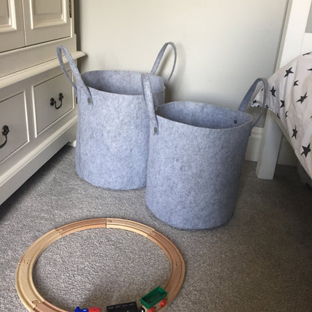 Large Grey Felt Basket