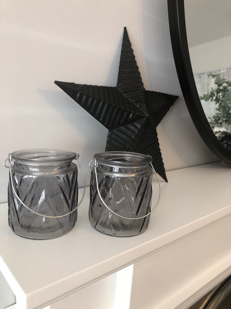 Grey chevron glass candle holder jar