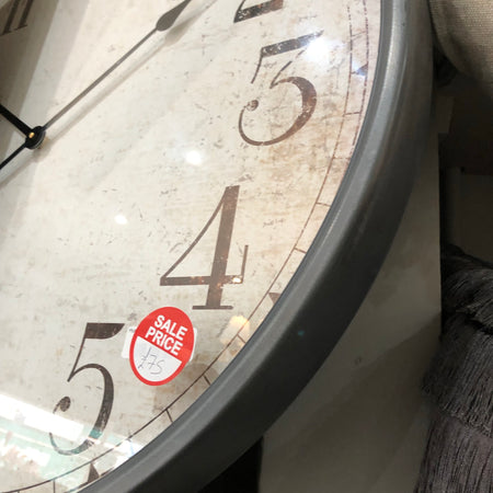 Huge Grey Distressed Clock