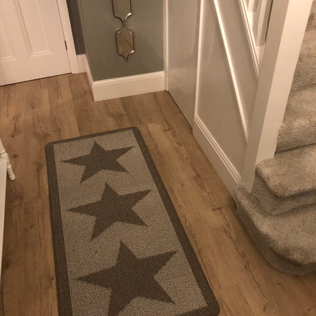 Taupe star runner door mat 150cm by 67cm