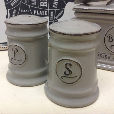 Grey ceramic salt and pepper shakers