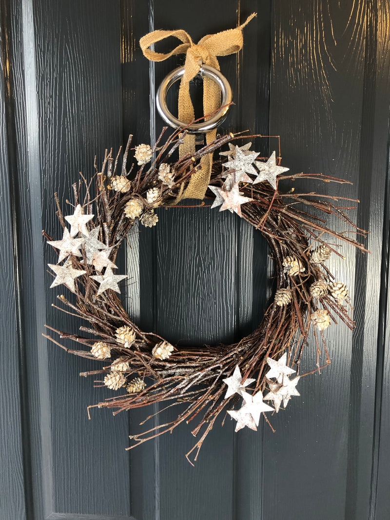 Twig Wreath with Stars and Pinecones 50cm