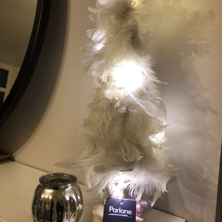 Parlane white feather LED tree