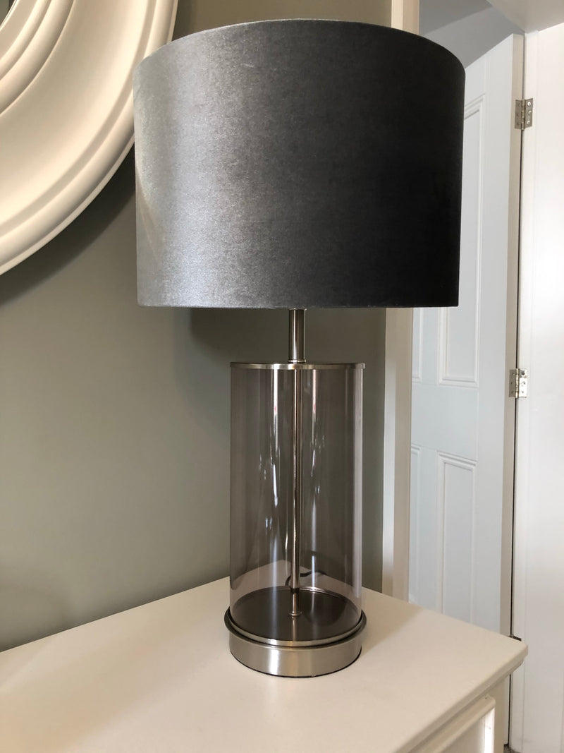 Grey smoked glass lamp with velvet shade