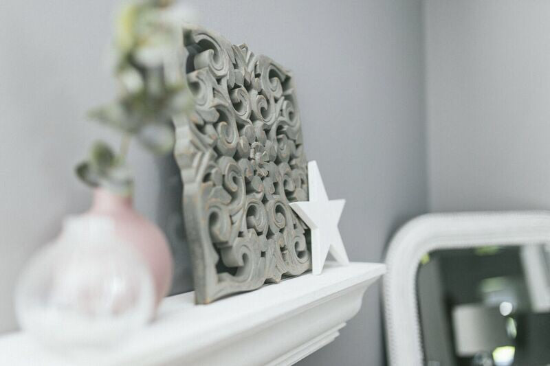 Grey Carved Wall Plaque