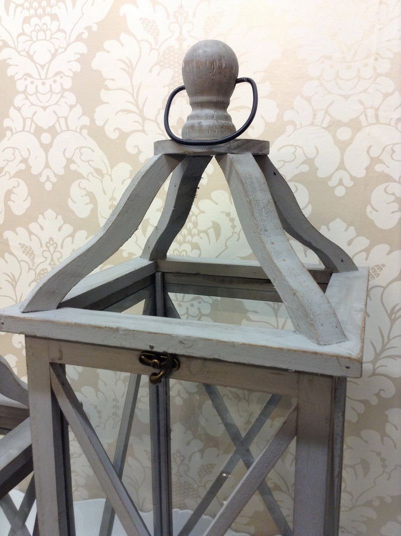 Large Grey Wooden Lantern