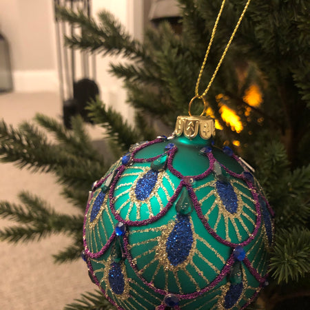 Glass peacock pattern bauble