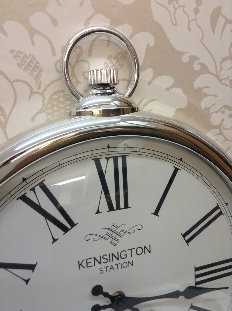 Silver chrome pocket watch kensington clock