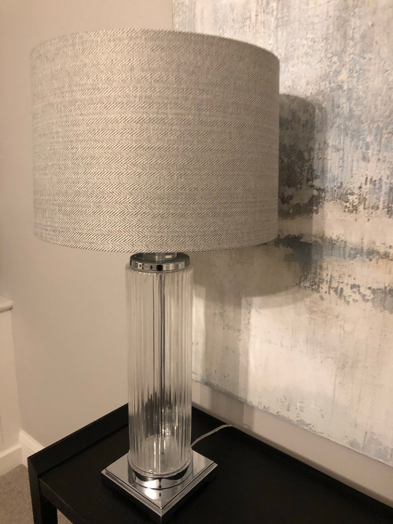 Tall Roma glass lamp with herringbone shade