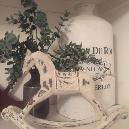 Wooden off white rocking horse