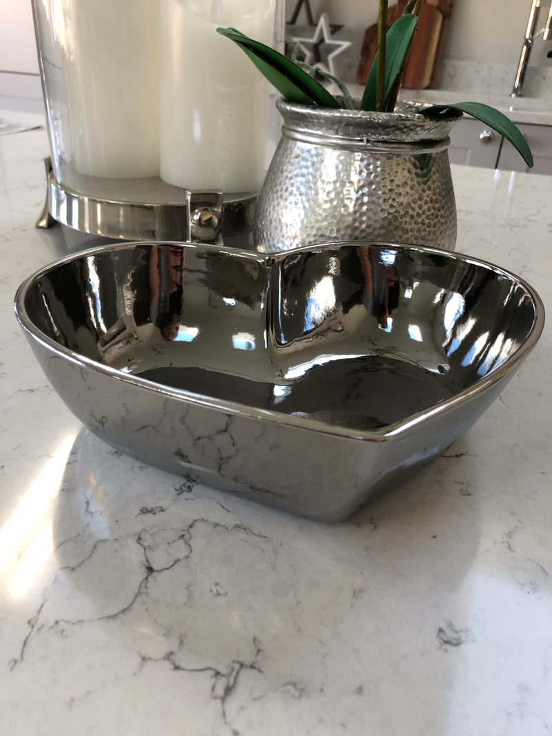 Large silver heart dish