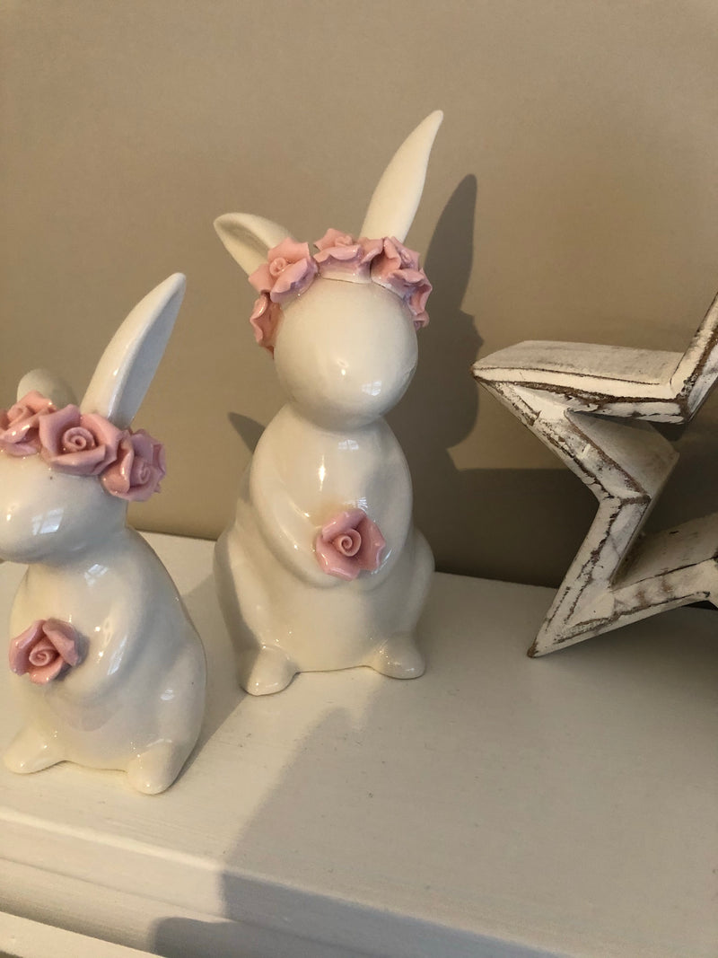 Large Rose ceramic Rabbit