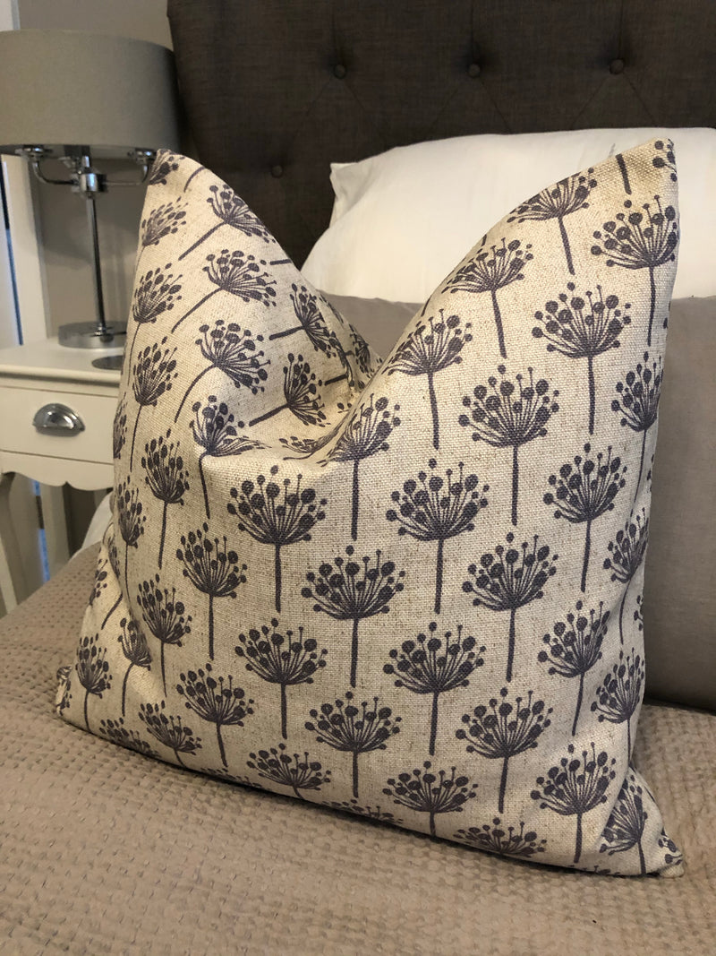 Natural linen and grey elm cushion