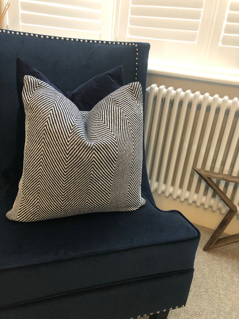 Navy blue herringbone cushion 45cm
