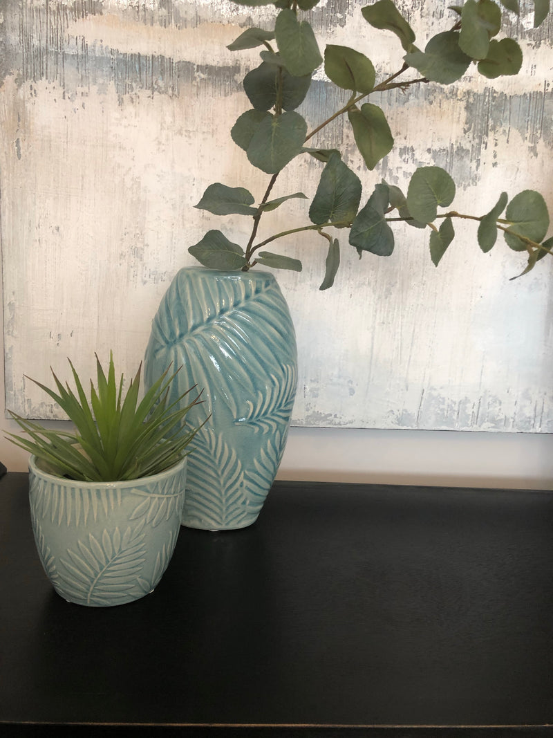 Pale Blue Leaf Vase