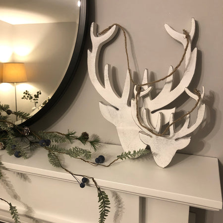 Large white mango wood hanging reindeer