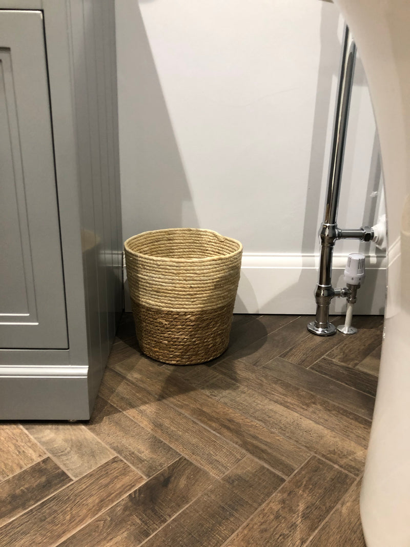 Woven two tone bin or planter