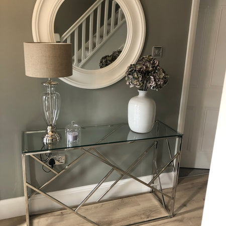 Azaria stainless steel silver metal glass console
