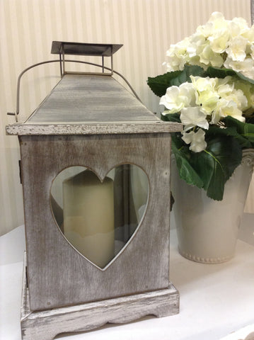 Lime wash heart lantern