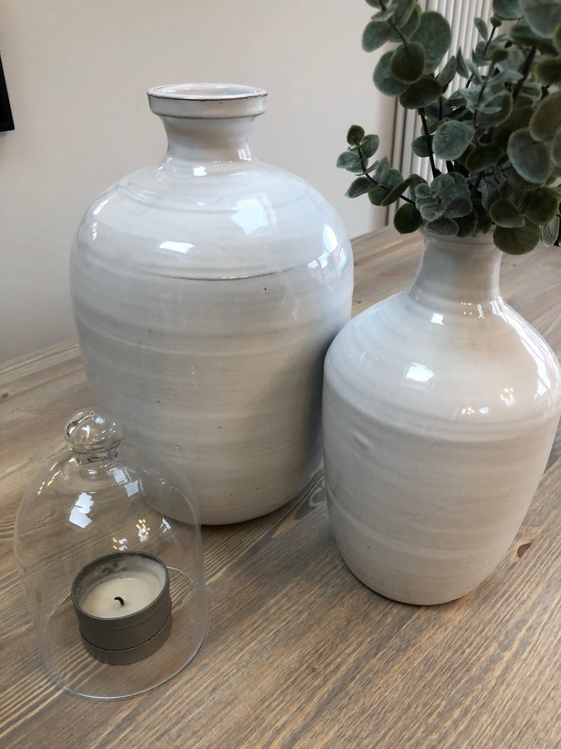 Medium ceramic White Olive Oil Jar bottle neck vase