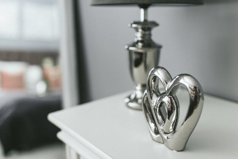 Silver double heart ornament