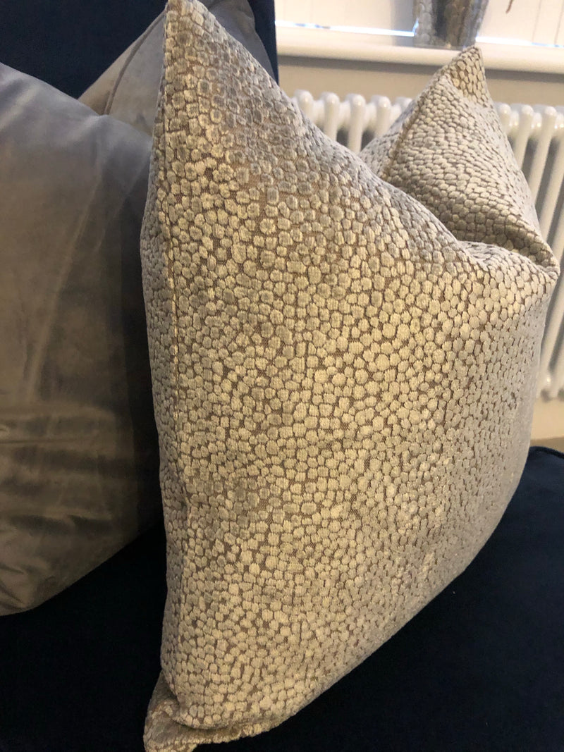 Textured silver and mink grey cushion 45cm