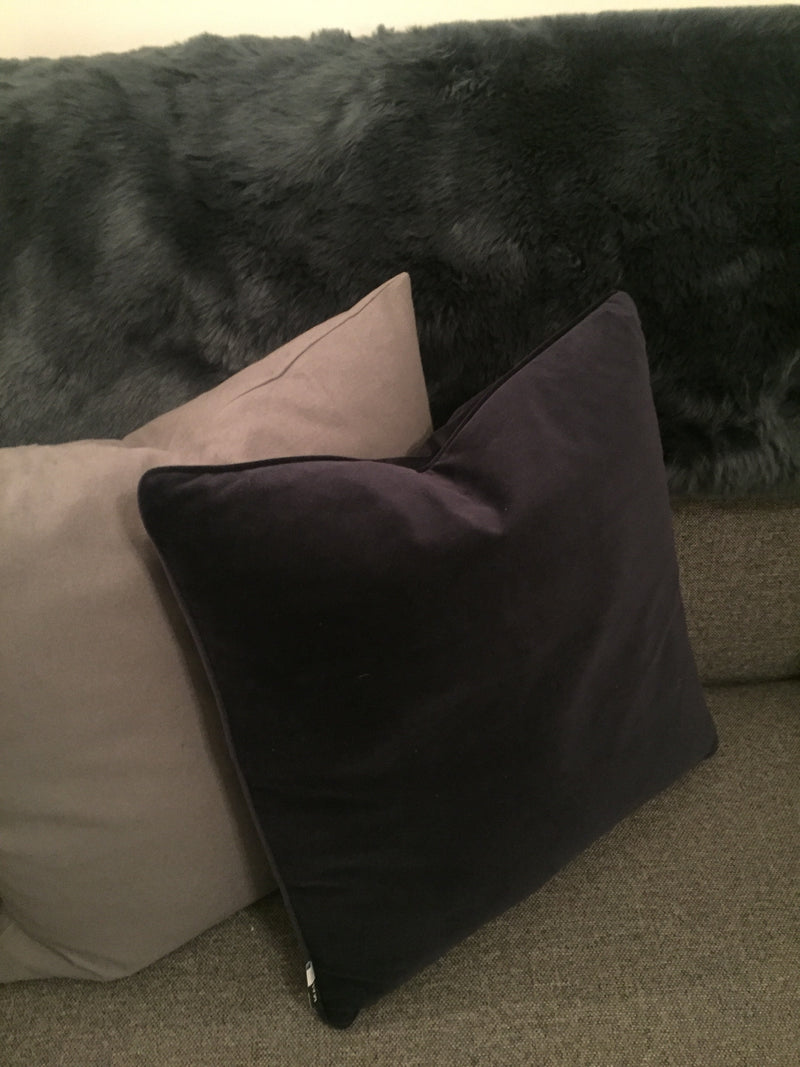 Navy velvet luxe piped cushion 45cm