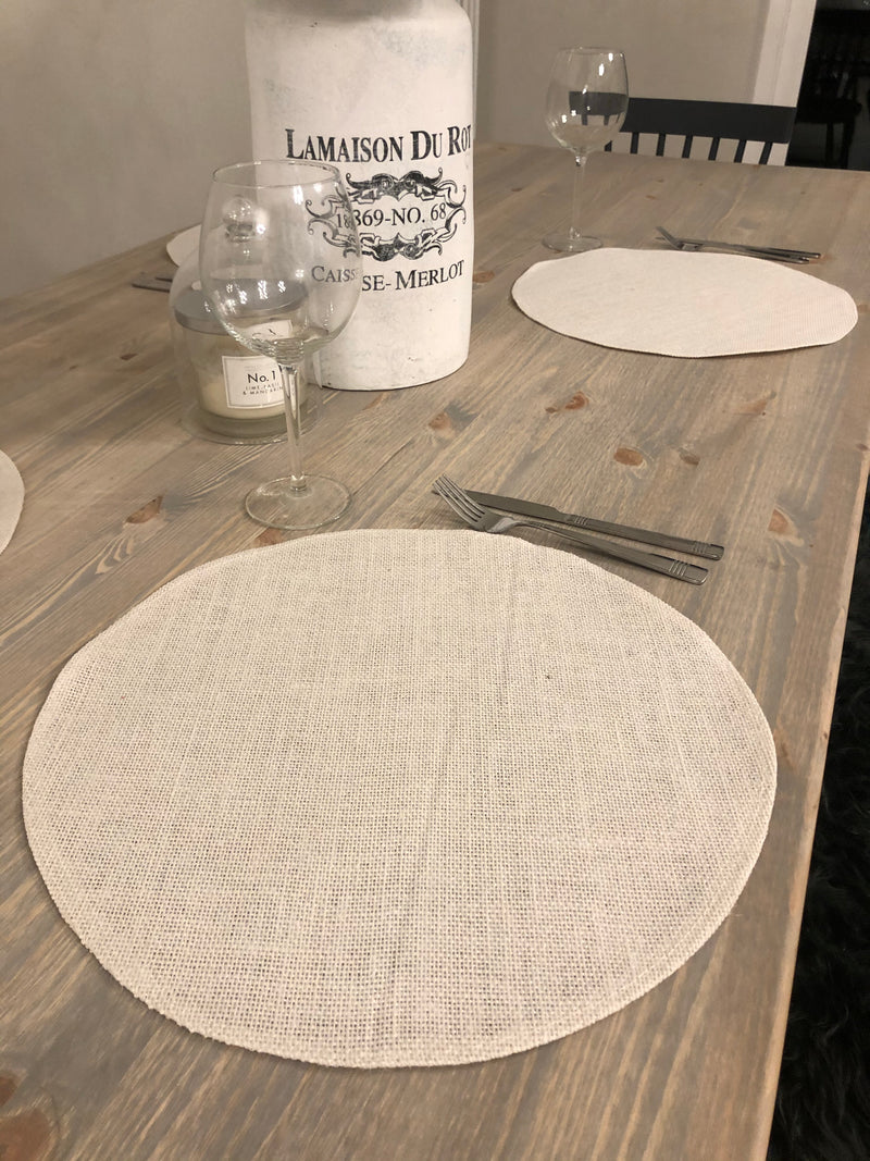 Set of 4 Off White Round Jute placemats