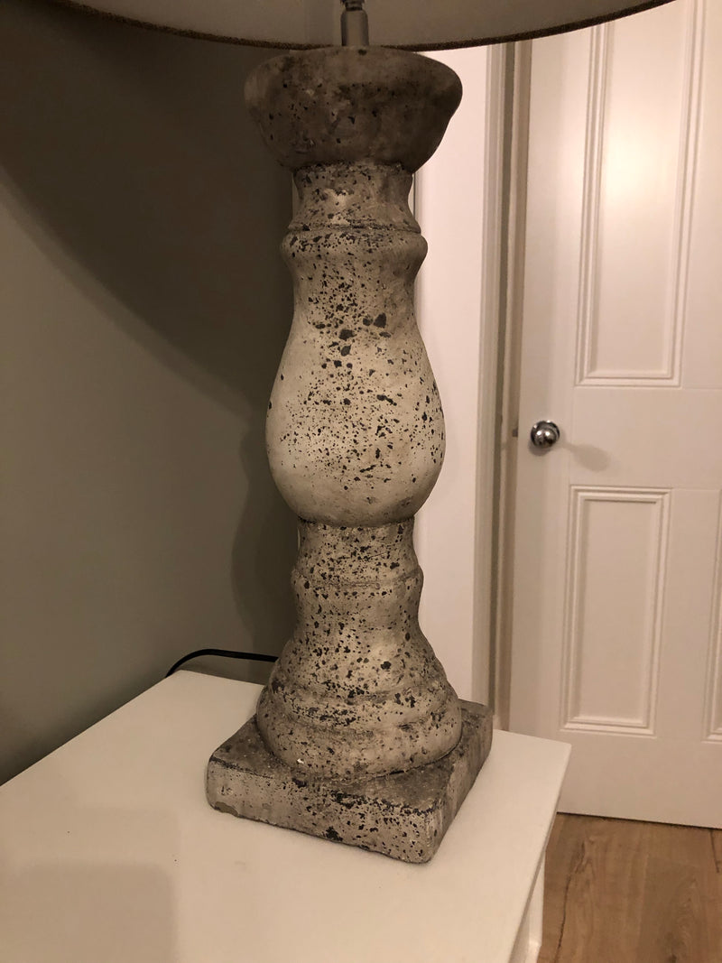 Birkdale large stone lamp with neutral linen shade