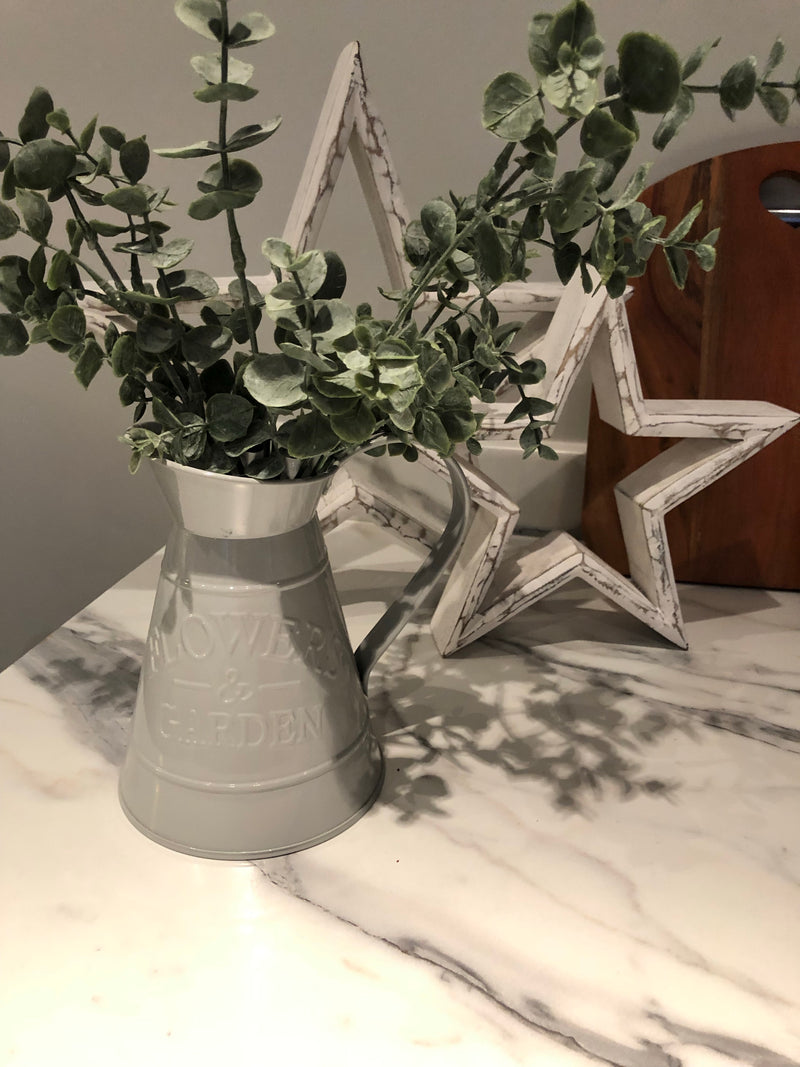 Medium Grey metal Flowers jug
