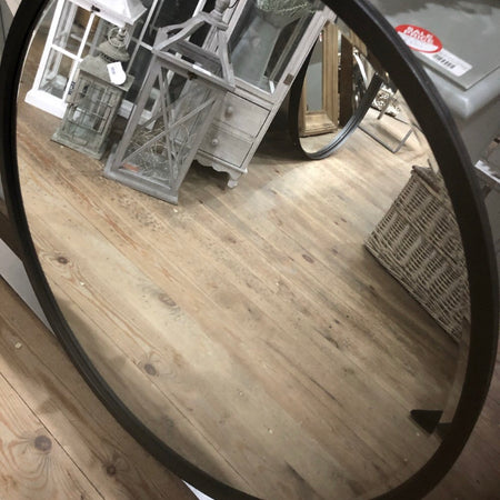 Store seconds black round mirror 80cm