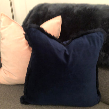 Navy velvet cushion with frill edge