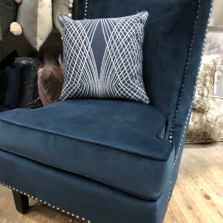 Navy Velvet chair with studs
