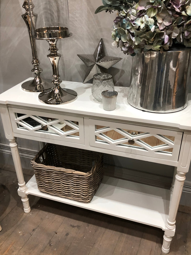 White Mirrored 2 drawer console with shelf