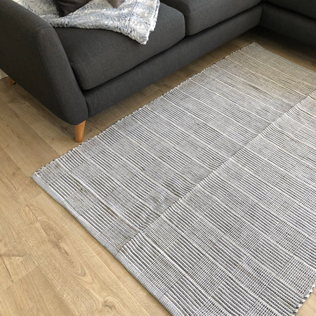 Large cotton woven rug grey tile detail 120x170