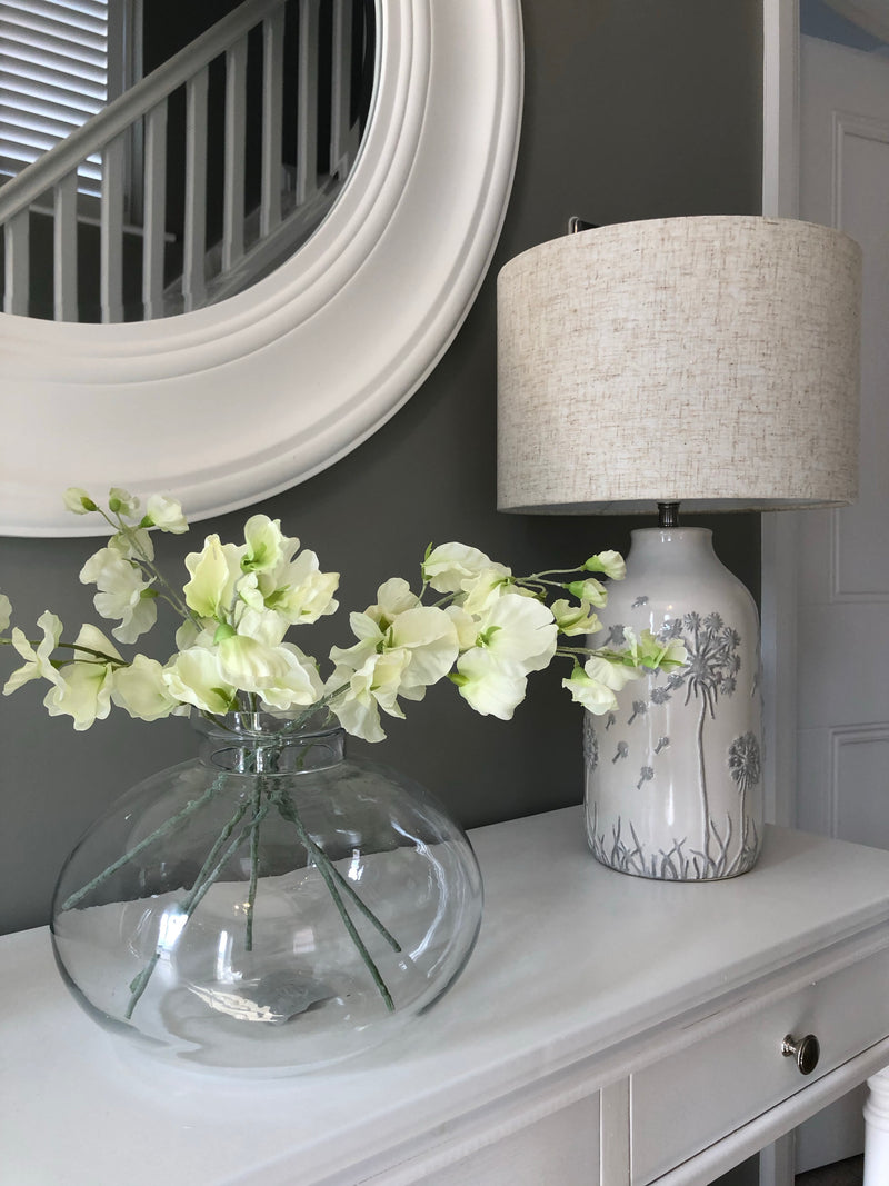 White floral ceramic lamp with shade