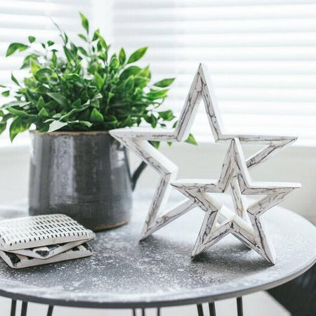 Large white wood star