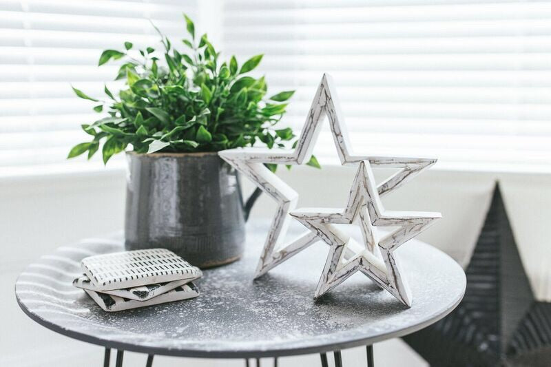 Medium hanging white star with cut out heart