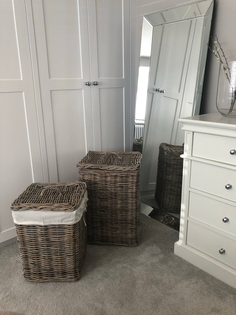 Large kubu grey wash square lined laundry basket