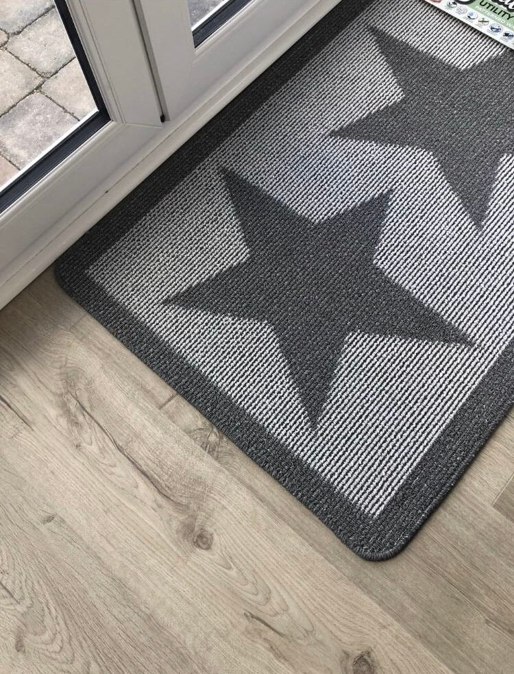 Large grey star indoor mat rug runner 67cm by 150cm