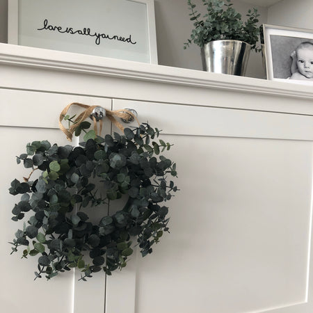 Round eucalyptus wreath with huge ribbon 30cm