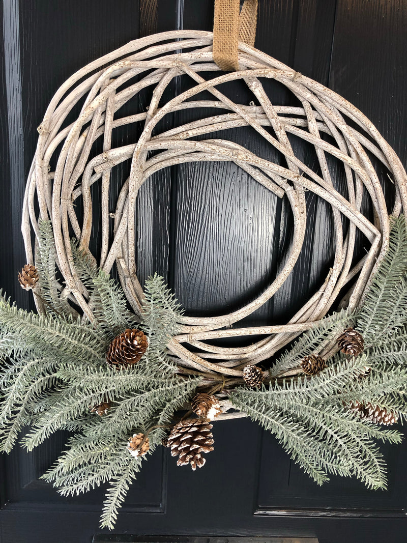 Large open willow wreath with foliage and pine cone 60cm