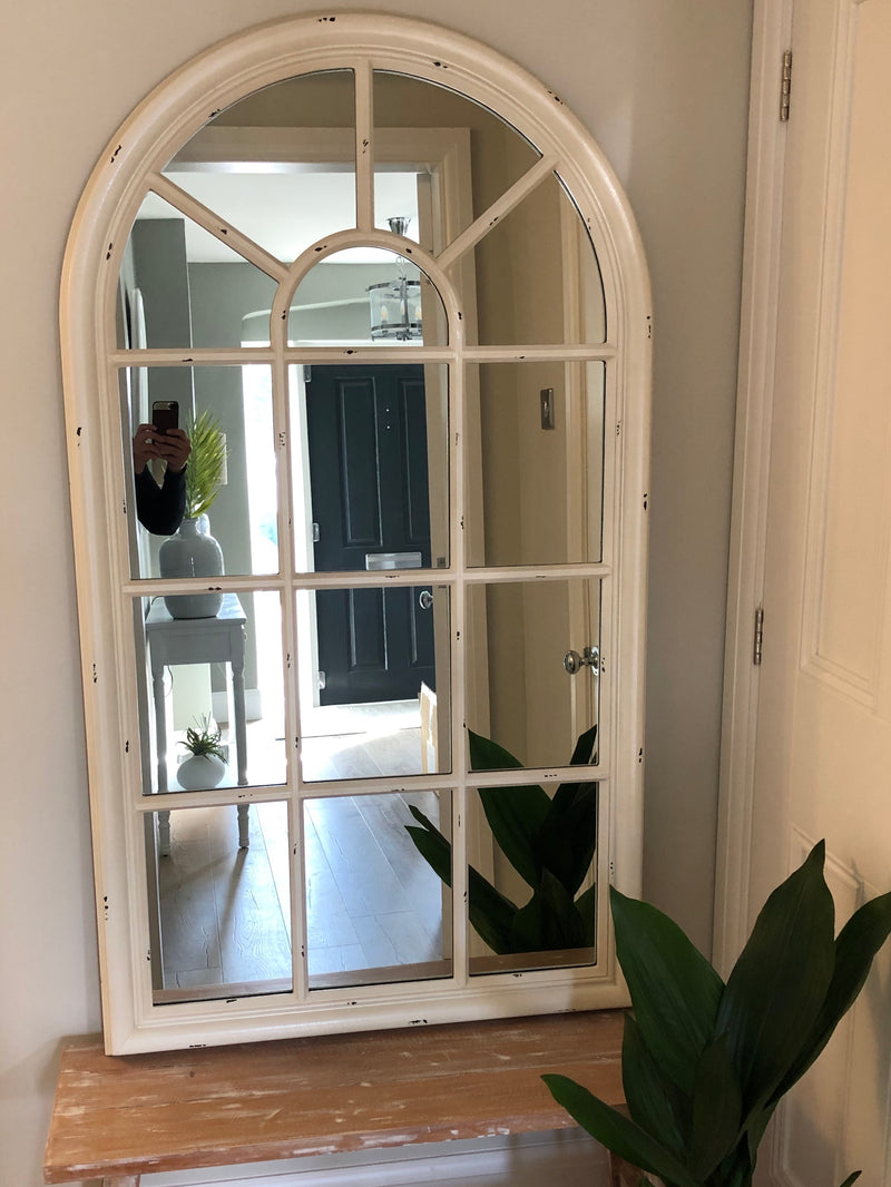 Off white window mirror with arched top