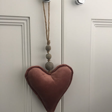 Pink Velvet Hanging Heart mixed